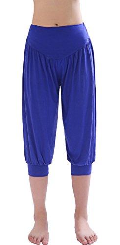 HOEREV® Frauen-Super Soft Modal Spandex Harem Yoga Pilates Capri Hose, Royalblue, XXL