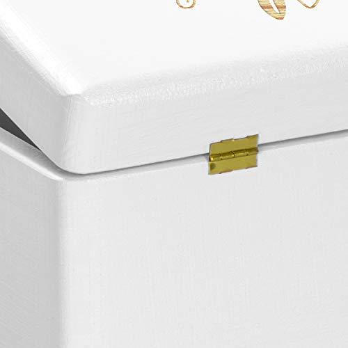 LAUBLUST Holzkiste zur Hochzeit - Florale Raute - Geschenkkiste Personalisiert mit Gravur - ca. 30x20x14cm, Weiß, FSC® - 7