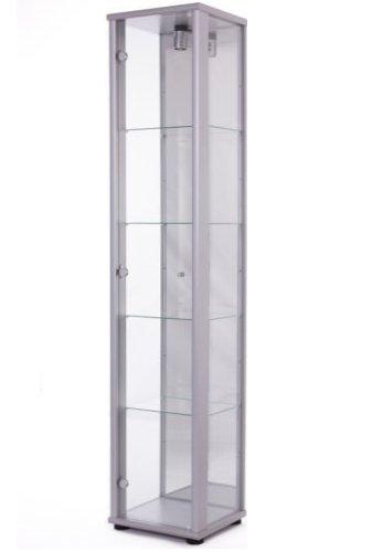K-Möbel Glasvitrine in Silber (176x37x33 cm) mit 4 höhenverstellbaren Glasböden aus ESG und Spiegel; beleuchet; perfekt für Sammler;