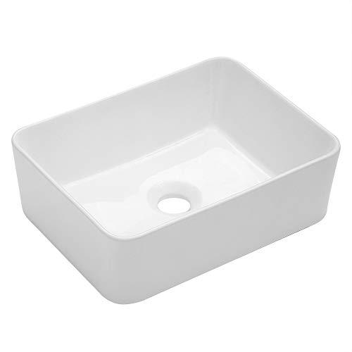 "Vessel Sink Rectangular - Kichae 16""x12"" Modern Bathroom Rectangle Above Counter White Porcelain Ceramic Vessel Vanity Sink Art Basin"
