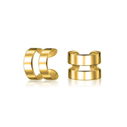 Unisex Minimalistische Geometrische Split Band Knorpel Ohr Manschette Ohrringe Helix Nicht Durchbohrt 14K Vergoldet 925 Sterling Silber