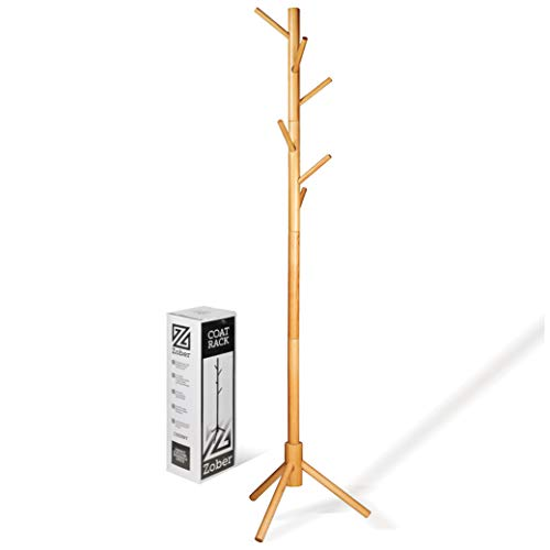 ZOBER Premium Wooden Coat Rack Free Standing, with 6 Hooks Lacquered Pine Wood Tree Coat Rack Stand for Coats, Hats, Scarves, Clothes, and Handbags - Natural Finish