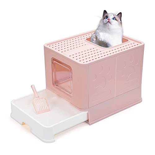 lg litter boxes Foldable Cat Litter Box with Lid, Large Enclosed Cat Litter Boxes, Top Entry Cat Potty, Easy to Clean Anti-Splashing Litter Pan Including Litter Scoop (Pink)