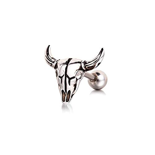 BlackAmazement 316L Acciaio inossidabile Cartilage Tragus Helix Barbell orecchini Toro bufalo bovino teschio argento uomo donna