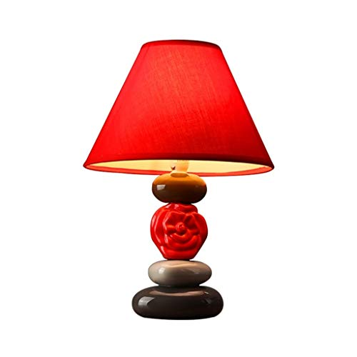 SMEJS Cuadro de la Tabla de la lámpara de Piedra y viga de Deco de la Sala de lámpara de Escritorio con la Cortina, Moderna Simple Lindo Rojo Festivo