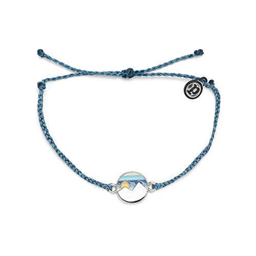 Pura Vida Silver Reversible Twin Peaks Bracelet - 100% Waterproof, Adjustable Band - Dusty Blue