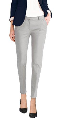 Hybrid & Company Super Comfy Womens Flat Front Stretch Trousers Pants PW31200TT Light Grey 22