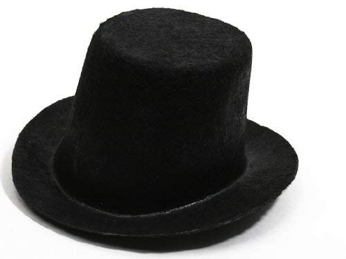 Package of 6 Mini Black Felt Top Hats for Your Snowman, Doll, or Other Craft Project.