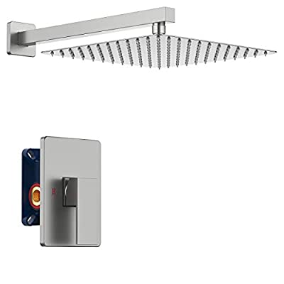 IRIBER Brushed Nickel Shower Trim Kit with Rough-in Valve, Bathroom Shower System Faucet Set with 12 Inch Rainfall Square SUS304 Stainless Steel Metal Showerhead