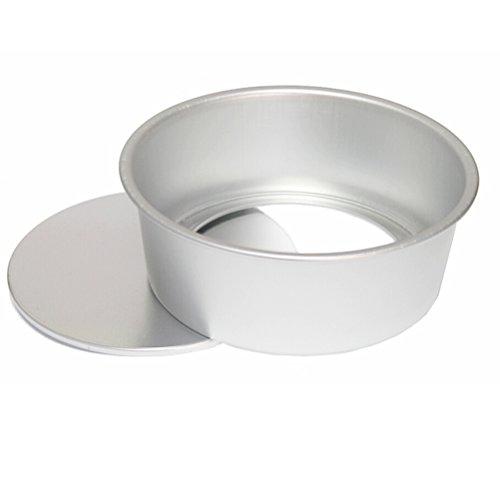 BESTonZON 10 Inch Round Cake Pan Aluminum Non Stick Round Cake tin (Silver)