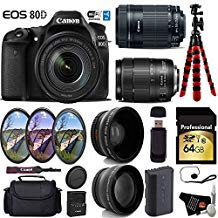 Why Should You Buy Canon EOS 80D DSLR Camera with 18-135mm is STM Lens & 55-250mm is STM Lens + UV FLD CPL Filter Kit + Wide Angle & Telephoto Lens + Camera Case + Tripod + Card Reader – International Version