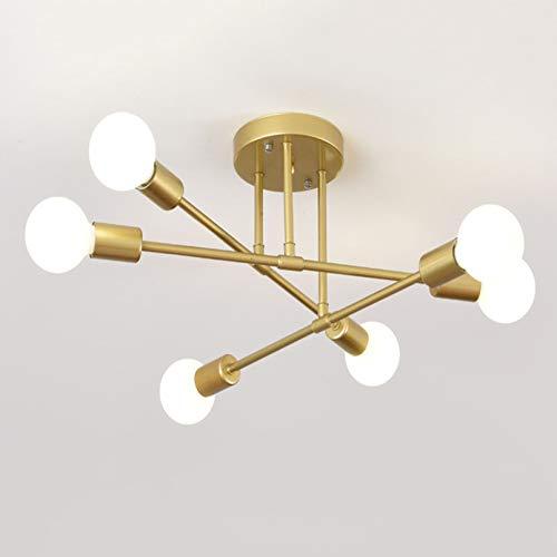 WENY Lampadario retrò in Metallo Sputnik Semi-Incasso Industriale Plafoniera E27 Moderno Oro 6 Luci Placcatura in Ottone Plafoniera per Soggiorno Camera da Letto,d'oro