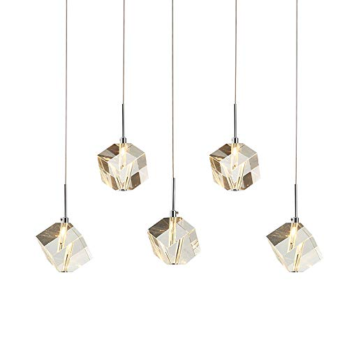 DINGGU Modern Lighting Island Crystal Chandelier Pendant Lamp Fixtures 5 Lights Halogen Bulbs Included