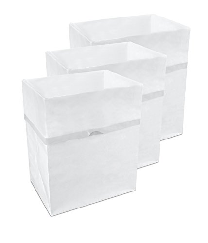 Clean Cubes 13 Gallon Disposable Trash Cans & Recycling Bins, 3 Pack (White)