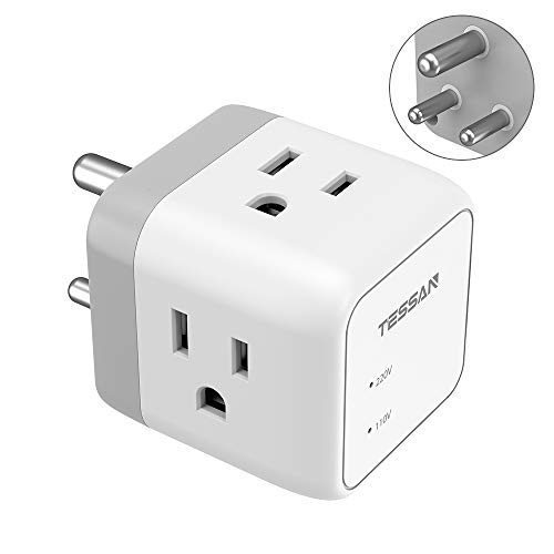 India Power Adapter, TESSAN 3 in 1 India Travel Adapter Grounded Type D Adapter Plug with 3 AC Outlets for US to India Nepal Pakistan Bangladesh Maldives Botswana