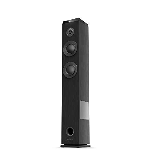 Energy Sistem Tower 5 g2 Ebony (65 W, Bluetooth 5.0, True Wireless Stereo, FM-Radio, USB/MicroSD MP3-Player, Audio-In), Schwarz