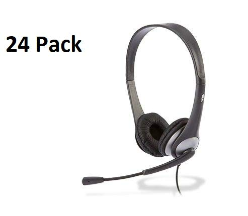Cyber Acoustics AC-204 Carton of 24 Stereo Classroom Headsets w/Single Plug and Y-Adapter