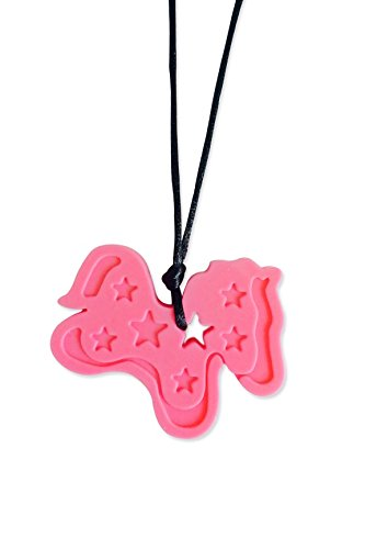 ChewAid Chew Pendant chewelry Pink Pony Training and Development Chew Necklace for Teething Babies,Sensory,Oral Motor, Anxiety, Autism, ADHD