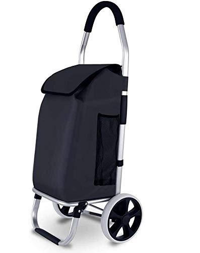 Acyon 45L Einkaufstrolley Klappbar Aluminiumlegierung Multifunktional Einkaufswagen Shopper Handwagen abnehmbare Wasserdicht Tasche mit großen Rädern bis 40kg Belastbar,B:Black
