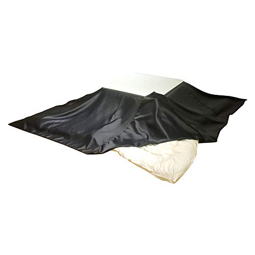 眠り姫 日本製 お手軽 上掛け マルチ ソファーカバー レザー風 黒 195×195cm 正方形 洗濯可