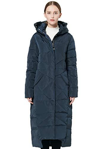 Orolay Damen Daunenmantel Langer Winterjacke mit Kapuze Marinenblau XS