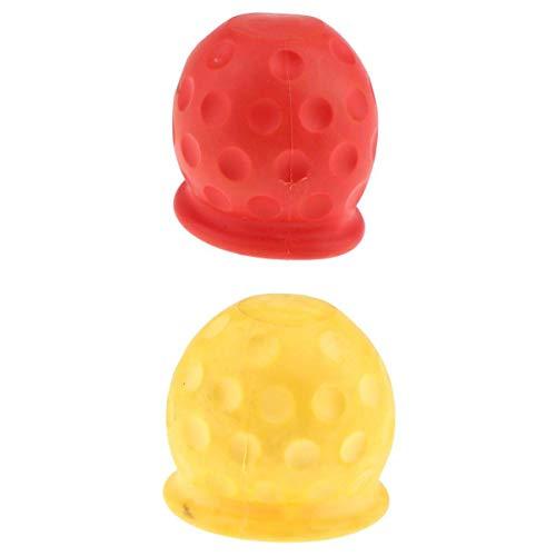 2pcs Remolque De Bola De Remolque Cubierta Protectora Para El Coche, Camión, Remolque Amarillo + Rojo