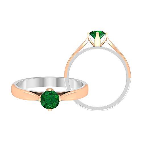 Piedra de nacimiento de mayo — 5,00 mm solitario anillo esmeralda, anillo de compromiso de 2 tonos, joyería de oro (calidad AAA), 14K Oro rosa, Size:EU 67