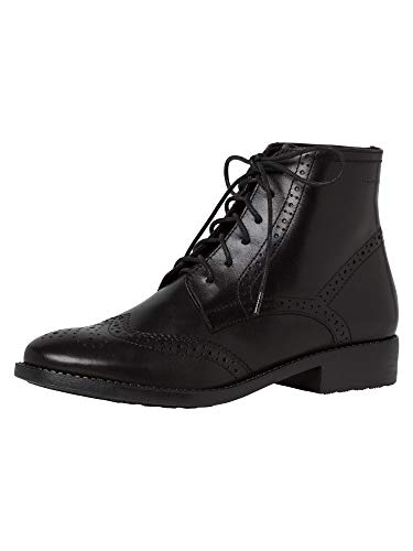 Tamaris Damen Stiefeletten, Frauen Schnürstiefelette, Business geschäftsreise geschäftlich büro Boot halb-Stiefel weiblich,Black,41 EU / 7.5 UK