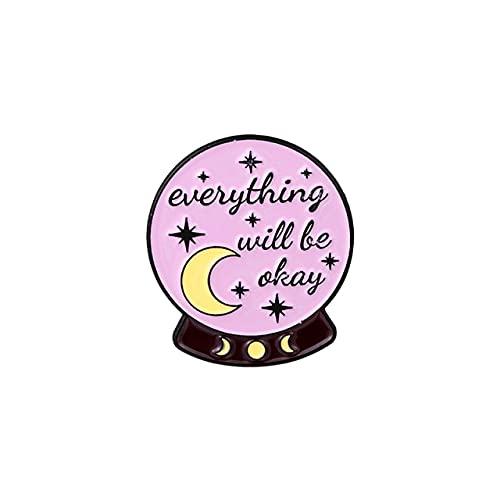GOY Citas inspiradoras Esmalte Pin Púrpura Bruja Cristal Luna Fase Taza de Café Corazón Copas Broches Chin Up Insignias para Amigos