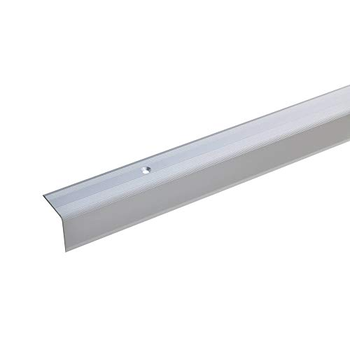 acerto 51104 Aluminium Treppenwinkel-Profil - 170cm, 27x27mm, silber * Rutschhemmend * Robust * Leichte Montage | Treppenkanten-Profil, Treppenstufen-Profil aus Alu | Gelochtes Stufenkanten-Profil