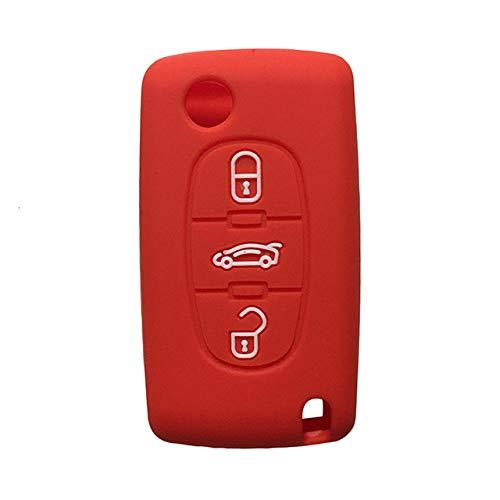 LOOIUEX Silicone Key Cover Funda para Llave de Coche, protección de Goma de Silicona C-Triomphe Xsara para Peugeot 307308407207 SW Berlingo para Citrien C3 C4 Picasso, Rojo