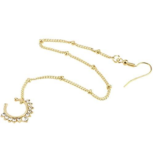 TOSSPER Unisex Nariz Studs Fake Septum Piercing Hoop Hoop Fake Crystal Anillos De Nariz Ear Cadena Cuerpo Joyería para Mujeres Hombres