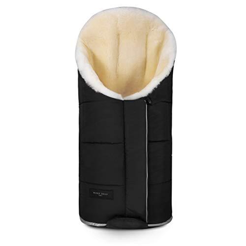 Sacco per passeggino TULA VARIO in pelle di agnello medicale di WERNER CHRIST – Sacco per buggy o come materassino per fasciatoio, coperta per giocare, colore nero
