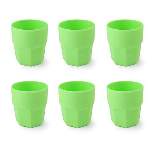Cartaffini - Bicchiere acqua in plastica, Polipropilene (PP), capacità 25 cl, forma Ottagonale - Set 6 pezzi - Colore: Verde