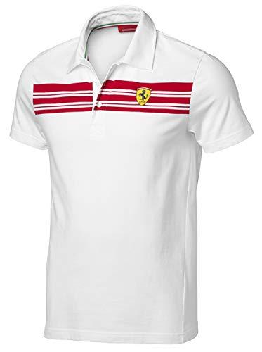 [ Ferrari ] スクーデリア フェラーリ オフィシャル ストライプ ポロシャツ (M身幅56cm着丈72cm, ホワイト)