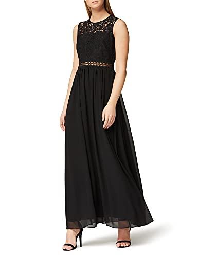 Marchio Amazon - TRUTH & FABLE Maxi Dress di Pizzo Donna, Nero (Black), 44, Label: M