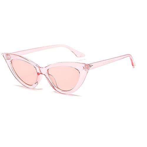 WQZYY&ASDCD Gafas de Sol Gafas De Sol De Ojo De Gato Verdes Transparentes para Mujer, Marco Pequeño, Frontera De Moda, Gafas De Sol De Espejo Personalizadas Retro Clásicas-C08