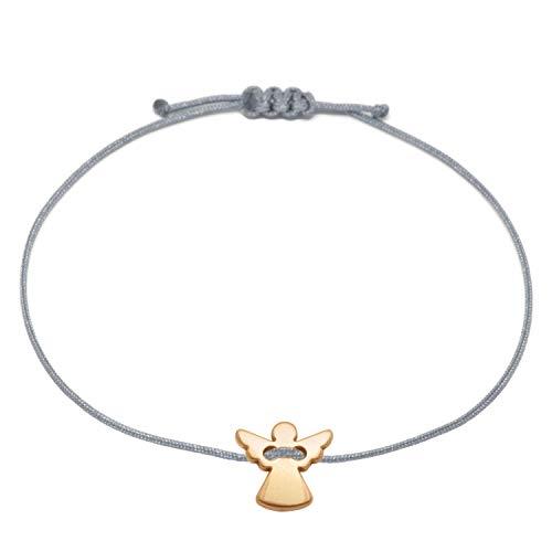 Schutzengel Armband - Rosegold Grau Größenverstellbar bis ca 21 cm - Glücksbringer Armkettchen Frauen Damen Mädchen im Schmucksäckchen als Geschenk verpackt (Roségold - Grau)
