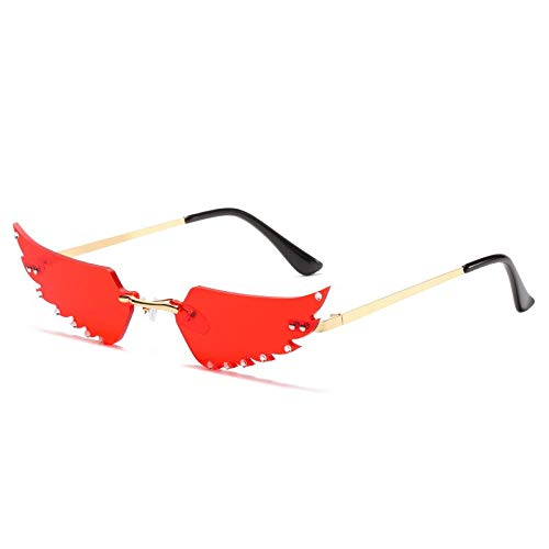 NJJX Nuevas Gafas De Sol Con Personalidad Para Mujer, Sin Montura, Con Forma De Pluma, Espejo, Mosaico, Diamantes, Gafas De Sol Para Mujer,Ropa De Calle, Uv, Dorado, Rojo