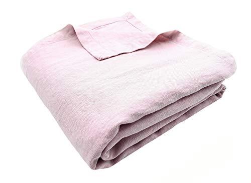 JOWOLLINA Colcha de Cama, 100% Lino, 260 x 280 cm, Color Rosa