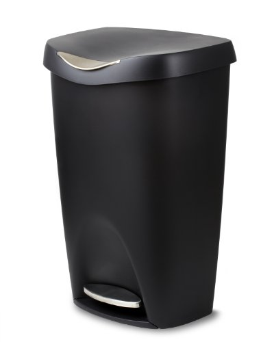 Umbra, Black Brim 13 Gallon Trash Lid-Large Kitchen Garbage Can with Stainless Steel Foot Pedal, Stylish and Durable