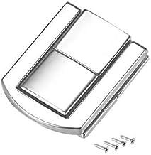 DealMux Toggle Catch Lock, 31 mm retro, decoratieve zilverkleurige haspel met schroeven voor koffersluiting, verpakking van 2