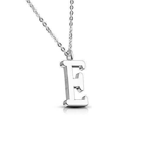 Bungsa® BUCHSTABE E Halskette Silber - BUCHSTABEN-ANHÄNGER E Kette - Alphabet Kette für Frauen & Männer - aus Edelstahl - Schmuck für Jungen & Mädchen