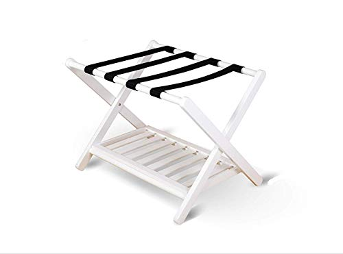 Penguin Home Classic Luggage Rack-Crafted in Solid Hardwood-Foldable Design-Easy Assembly-for Home, Bedroom & Travel-White-W67 White, Wood, W67 x D47 x H50 cm