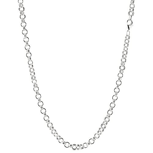 NKlaus Collar de plata de ley 925 con cadena de ancla redonda para mujer., Plata esterlina,