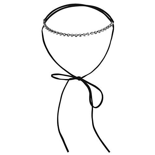 Daesar Collar Mujer,Collar Lazo Choker Collares Acero Inoxidable Mujer Plata Negro