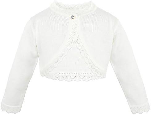 Lilax Little Girls Knit Long Sleeve Button Closure Bolero Cardigan Shrug 3T Cream product image