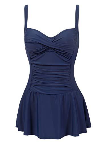 Womens Plus Size Tummy Control Swim Dress one Piece Skirt Swimsuit Bathing Suit(Old Navy,18)