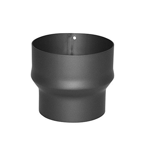 Kamino Flam Erweiterung gussgrau, Rohrerweiterung aus Stahl, hitzebeständige Senotherm® Beschichtung, geprüft nach Norm EN 1856-2, zum Anschluss von 150 mm in ein 180 mm Rohr