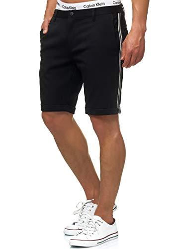 Indicode Herren Chiltern Chino Shorts meliert - hochwertige Baumwoll-Mischung | Kurze Hose Regular Fit Bermuda Sommerhose Herrenshorts Short Men Pants Chinohose kurz für Männer Black M